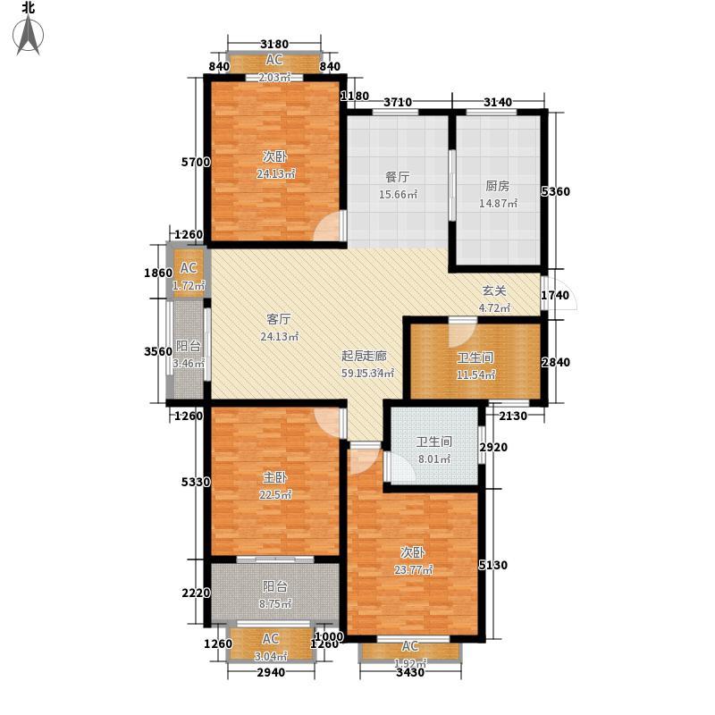 景城名轩130.00㎡3#,6#,7#楼D1户型3室2厅2卫1厨