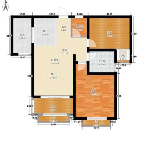 景城名轩2室0厅1卫1厨88.00㎡户型图