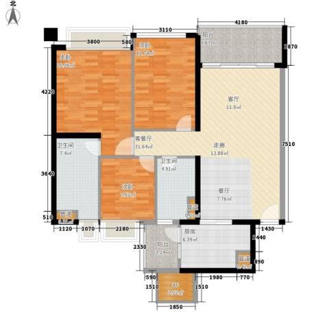 汇峰国际公寓3室1厅2卫1厨113.00㎡户型图