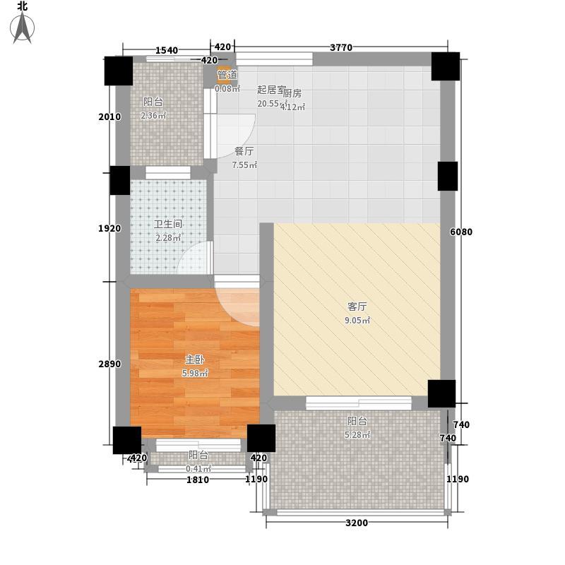 万辉星城蓝山郡62.90㎡G2公寓户型1室2厅1卫1厨