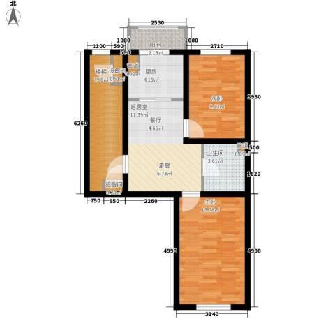 金美程家园2室0厅1卫1厨66.00㎡户型图