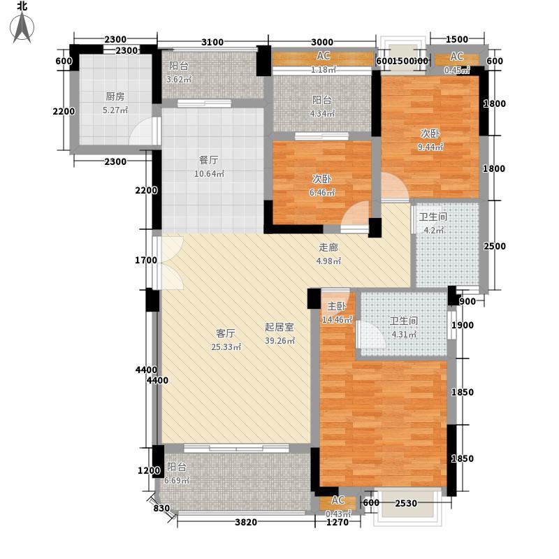 五矿・万境水岸126.30㎡E3栋标准层D2户型3室2厅2卫1厨