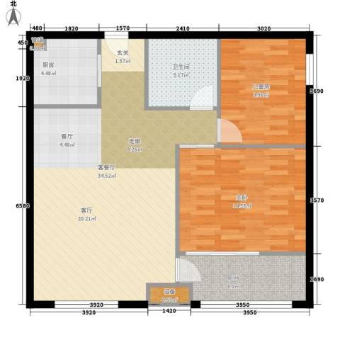鄂州豪威城市广场2室1厅1卫1厨88.00㎡户型图