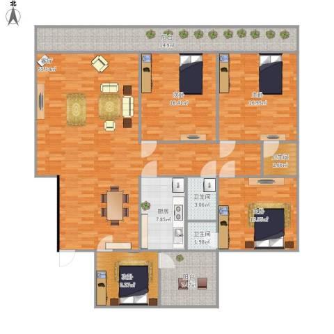 华逸花园4室1厅3卫1厨199.00㎡户型图