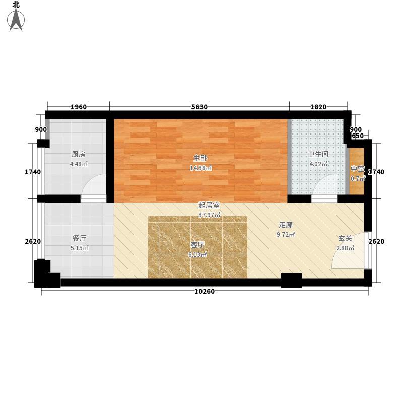开元公寓51.76㎡1号楼C3户型1室1厅1卫1厨