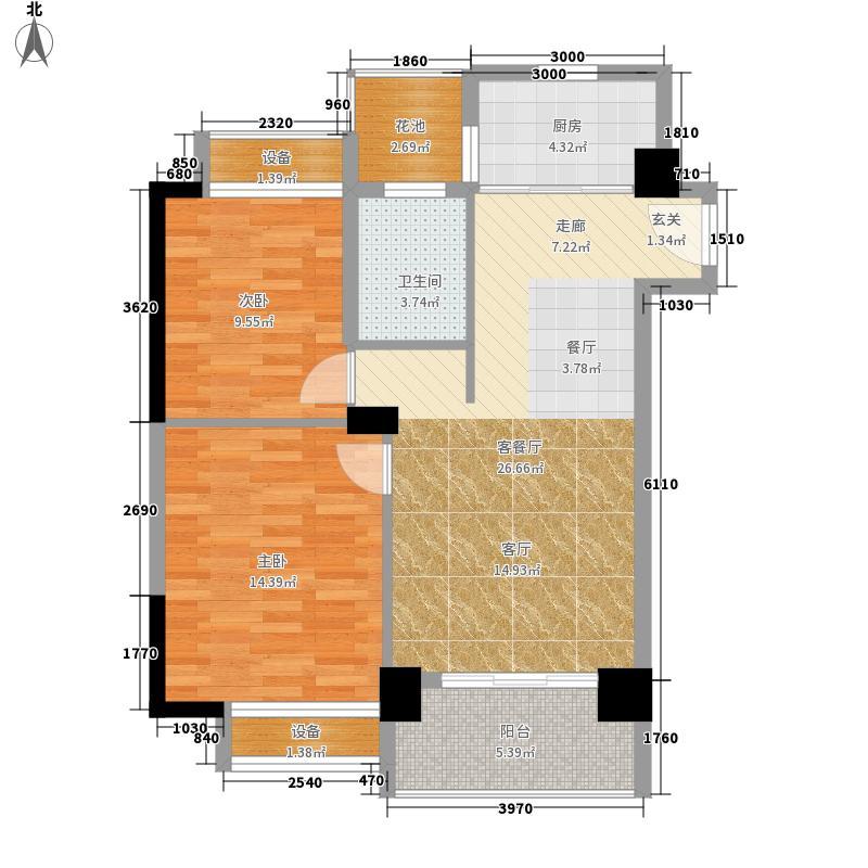 天宁・牧海4幢4单元0406号房户型2室1厅1卫1厨