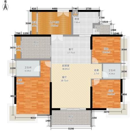 龙升豪苑3室0厅2卫1厨173.00㎡户型图