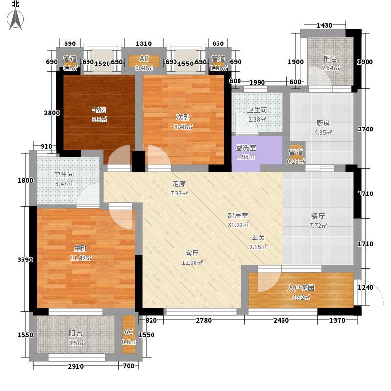 汇景新城13.24㎡1、8、10号楼标准层D2户型3室2厅2卫1厨