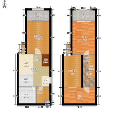 鄂州豪威城市广场2室0厅1卫1厨91.00㎡户型图