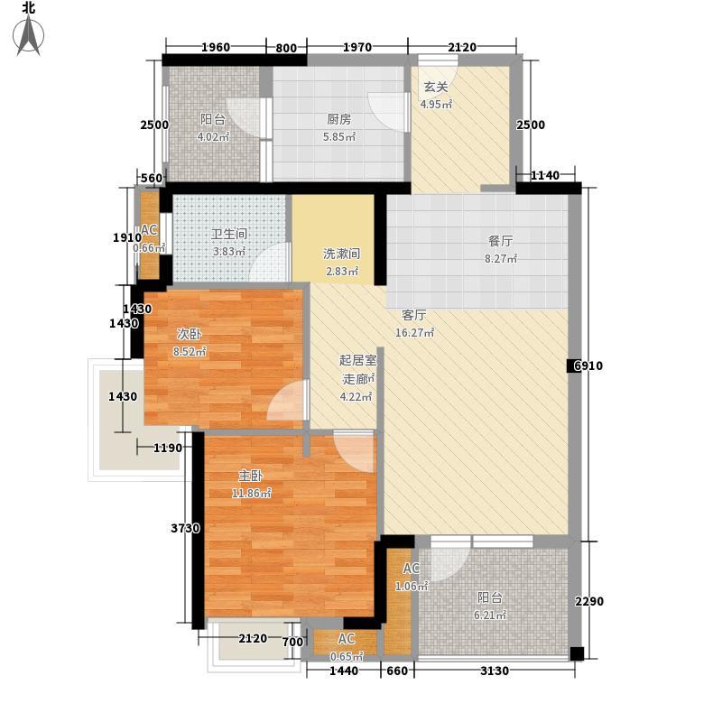 万科城89.00㎡万科城户型图三期J栋D2户型图售罄2室2厅1卫1厨户型2室2厅1卫1厨