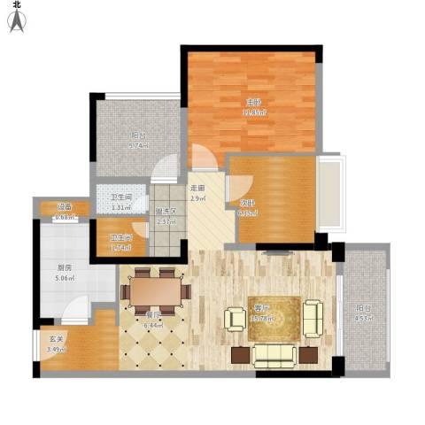 坪山招商花园城2室1厅2卫1厨97.00㎡户型图