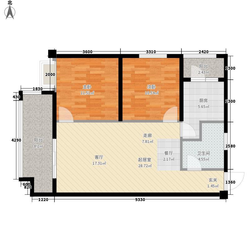 隆诚丽都一期1栋标准层A3户型2室2厅1卫1厨