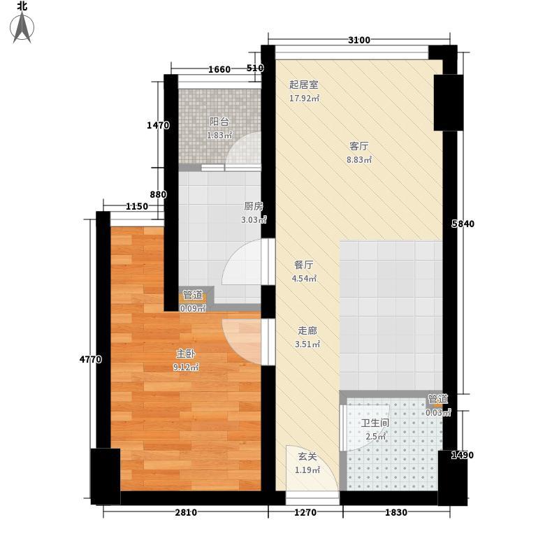 加怡名城52.01㎡C2型户型1室1厅1卫1厨