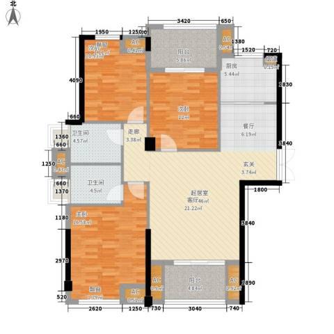 中茵蔚蓝国际3室0厅2卫1厨147.00㎡户型图