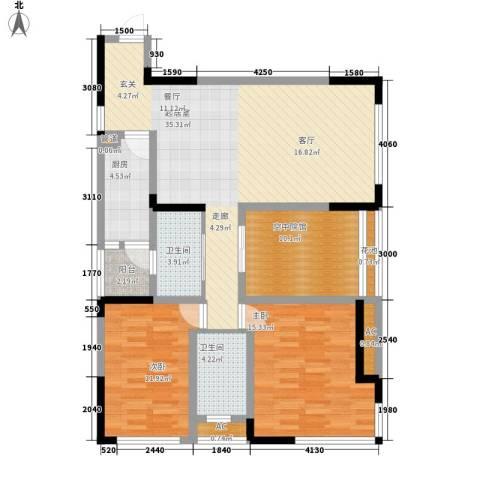 福星颐美名阁2室0厅2卫1厨89.87㎡户型图