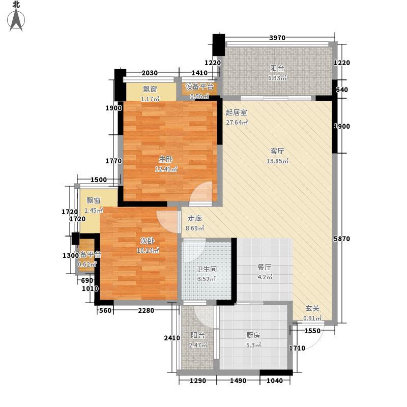 新神风八座2期2栋标准层G2户型2室2厅1卫1厨