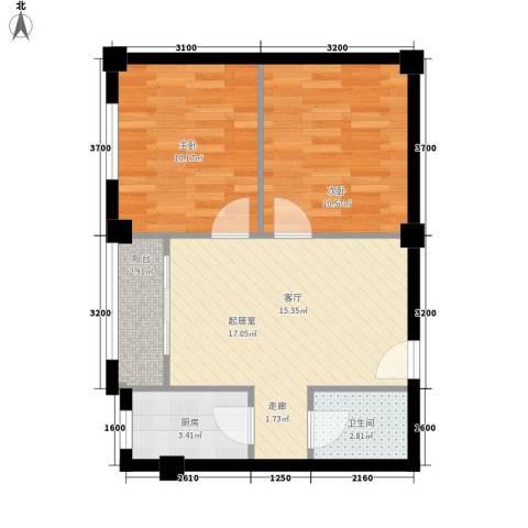 安康北苑2室0厅1卫1厨66.00㎡户型图