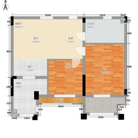 莱茵苑2室1厅1卫1厨78.00㎡户型图