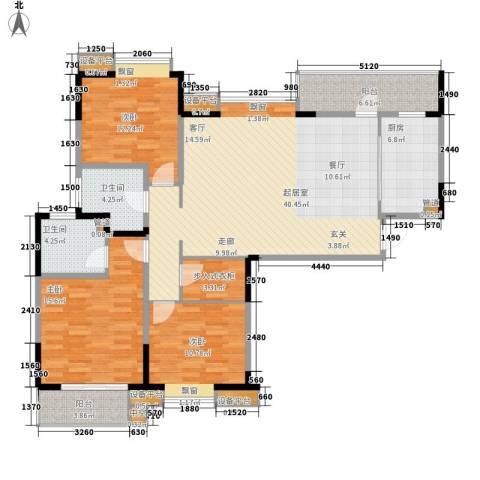 金浦名城世家3室0厅2卫1厨130.00㎡户型图