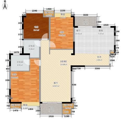 金浦名城世家3室0厅2卫0厨124.00㎡户型图