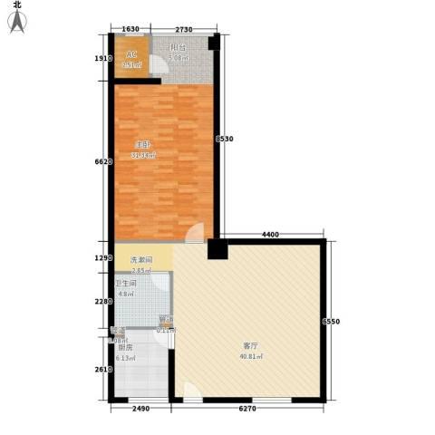 景泰翰林1室1厅1卫1厨94.00㎡户型图