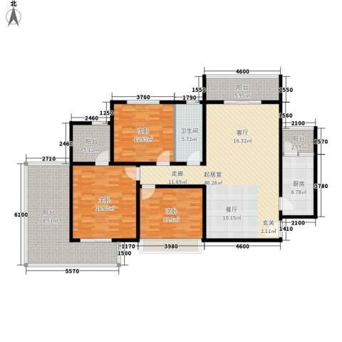 城市风景都市印象3室0厅1卫1厨125.95㎡户型图