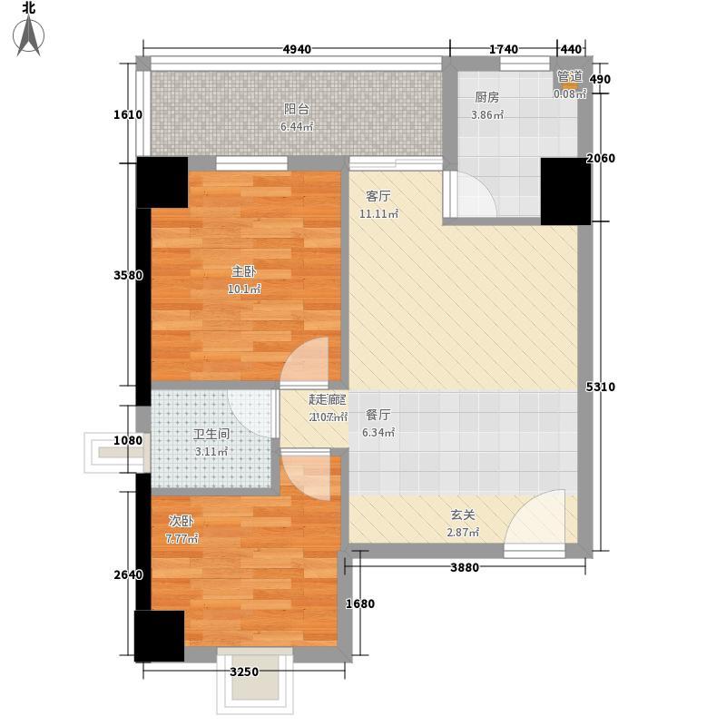 伊顿社区72.81㎡1号楼B型户型2室1厅1卫1厨