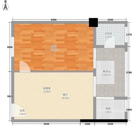 君悦春江花园1室0厅1卫1厨73.00㎡户型图