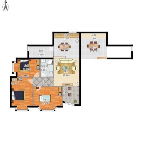 金苑华城3室1厅1卫1厨143.00㎡户型图
