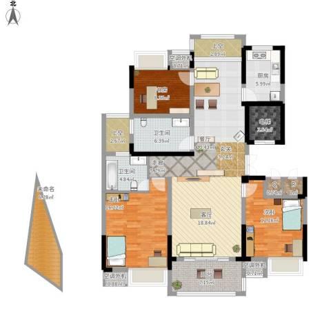 新浪琴湾3室1厅2卫1厨177.00㎡户型图