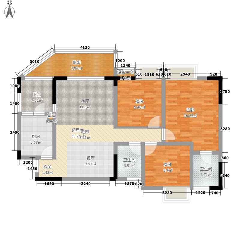 春天国际11.00㎡5栋标准层C6户型3室2厅2卫1厨