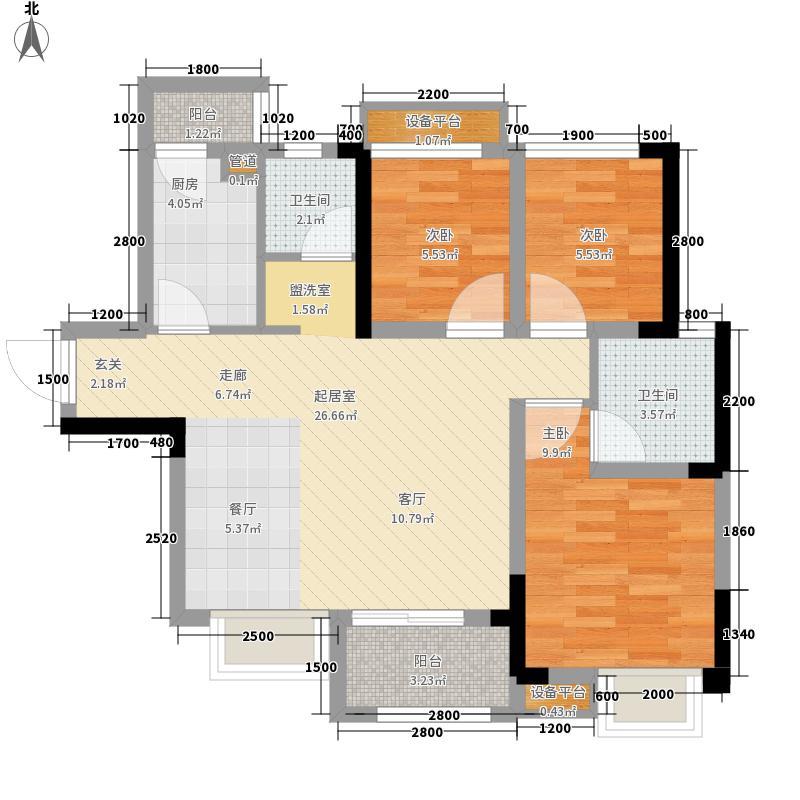 北大资源燕楠国际76.00㎡一期5号楼标准层B1-3户型3室2厅2卫1厨