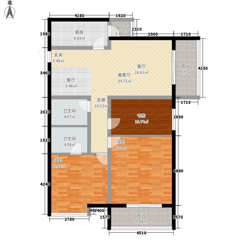 旭景新港125.12㎡旭景新港户型图1、2#A3室2厅2卫1厨户型3室2厅2卫1厨