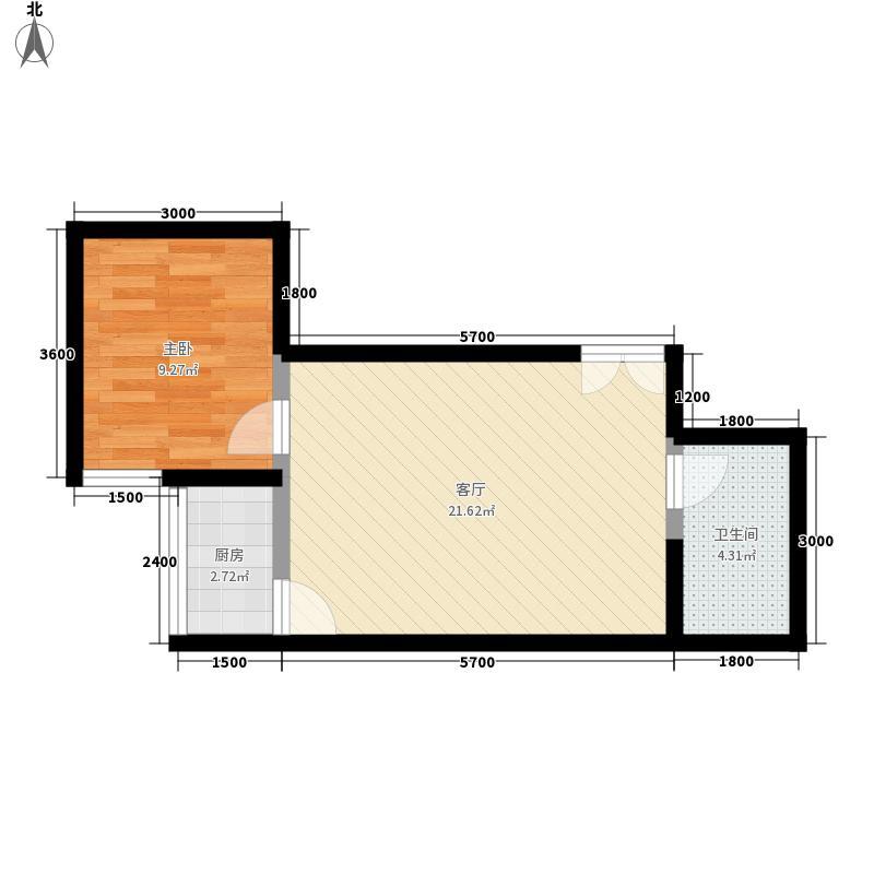 山水华城55.90㎡山水华城户型图2#E户型1室1厅1卫1厨户型1室1厅1卫1厨