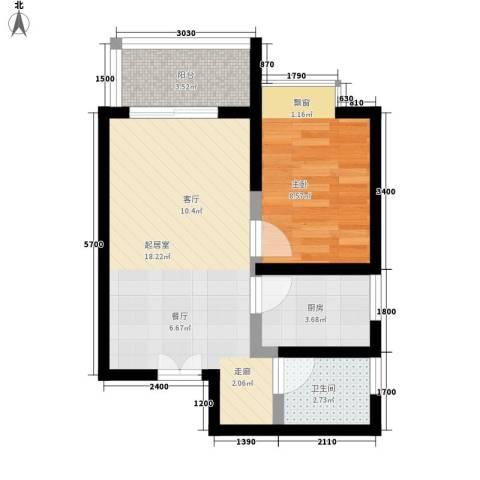 山水华城1室0厅1卫1厨55.00㎡户型图