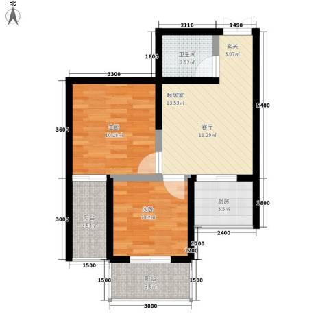 山水华城2室0厅1卫1厨64.00㎡户型图