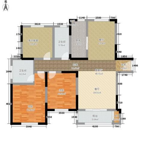 宝华和天下2室1厅2卫1厨129.00㎡户型图