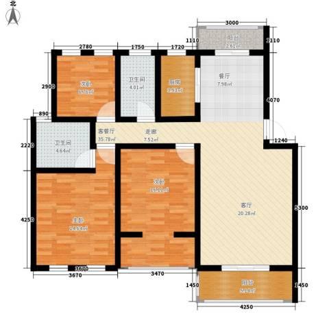万达星城3室1厅2卫1厨136.00㎡户型图