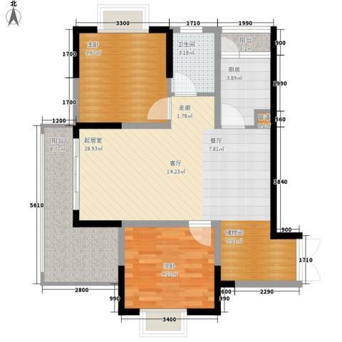 钱隆学府二期2室0厅1卫1厨89.00㎡户型图