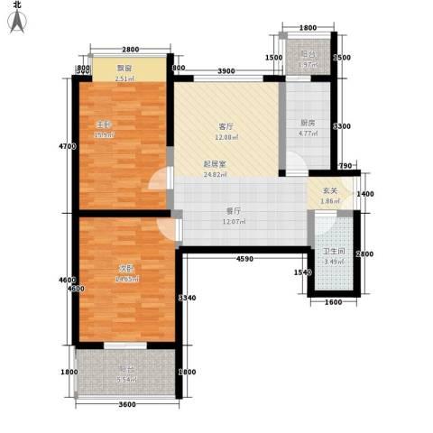 山水华城2室0厅1卫1厨100.00㎡户型图