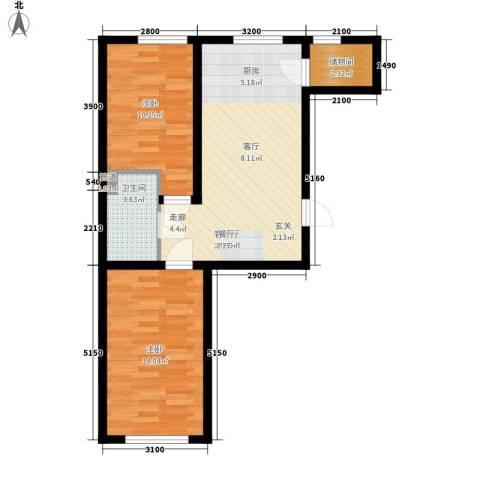云峰小区2室1厅1卫0厨74.00㎡户型图
