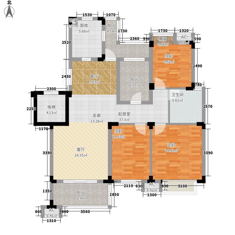 九龙仓时代上城户型图2期B-Y6户型 3室2厅1卫1厨