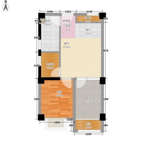 东方・阳光海岸1室0厅1卫1厨46.00㎡户型图