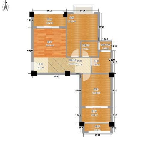 东方・阳光海岸2室0厅1卫1厨72.00㎡户型图