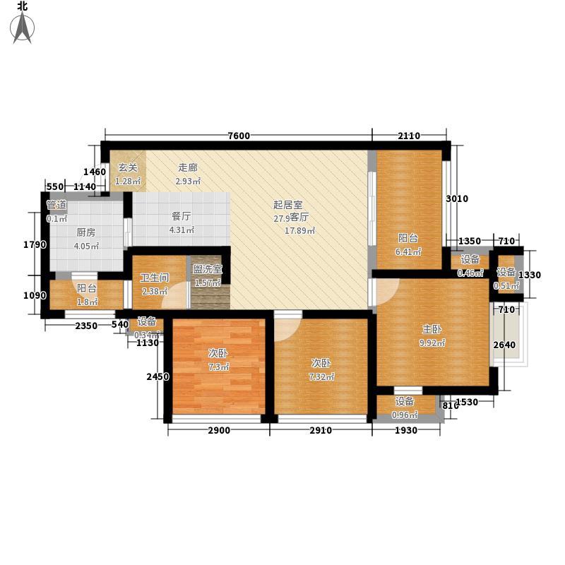 北京城建龙樾湾84.00㎡三期34号楼标准层J4户型3室2厅1卫1厨