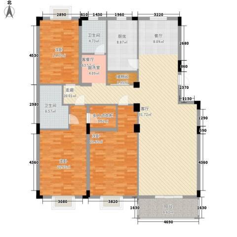 康湖山庄3室1厅2卫1厨168.00㎡户型图