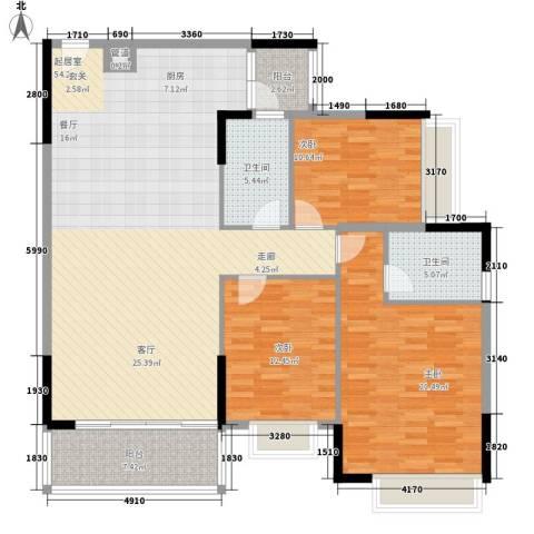 粤顺豪庭3室0厅2卫0厨135.00㎡户型图