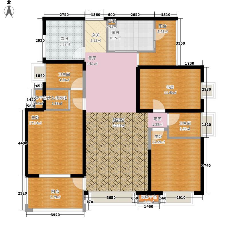 东苑小区E140.00㎡户型4室2厅3卫1厨