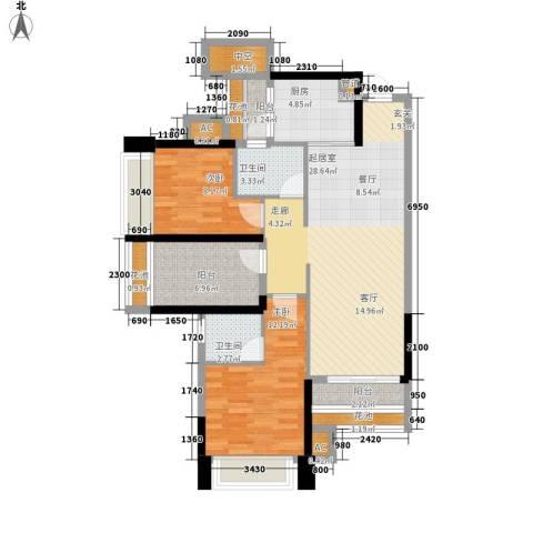 葡萄庄园左岸2室0厅2卫1厨87.00㎡户型图