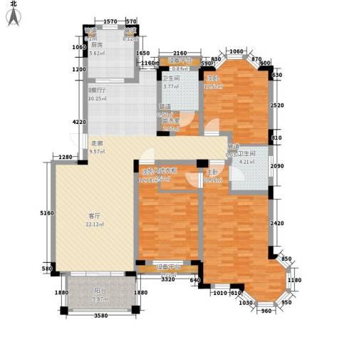 莱茵苑3室1厅2卫1厨131.00㎡户型图